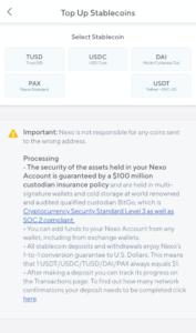 Nexo Deposit Stablecoin Options