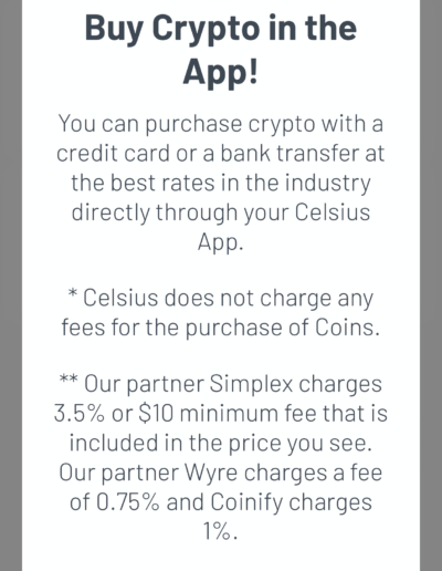Celsius Fees to Buy