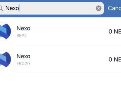 Trust Wallet NEXO ERC20 and BEP2